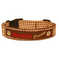 Landhaus Halsband Karo braun-rosa Chocolate dream