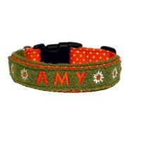 Landhaus Halsband AMY Dotty orange mit Namen